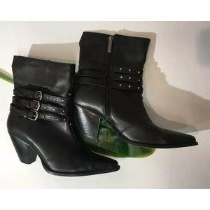Harley Davidson Black Leather Heel Boots 9.5